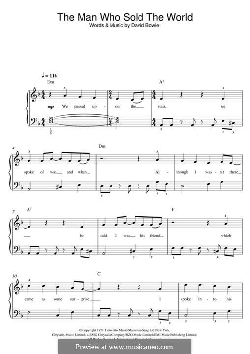 The Man Who Sold the World (Nirvana): Für Klavier by David Bowie