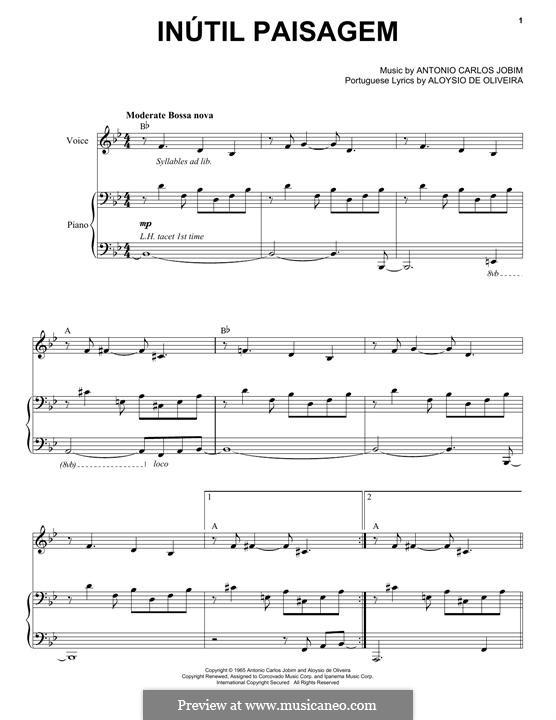 Inutil Paisagem: Für Stimme und Klavier by Antonio Carlos Jobim