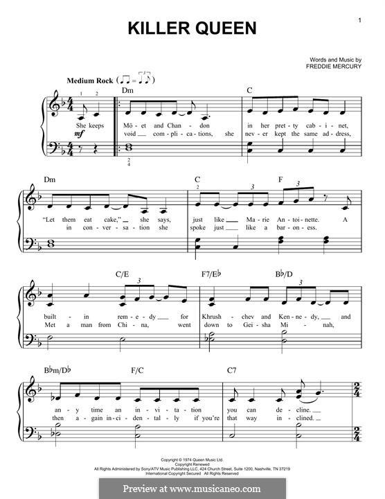 Killer Queen (Queen): Für Klavier by Freddie Mercury