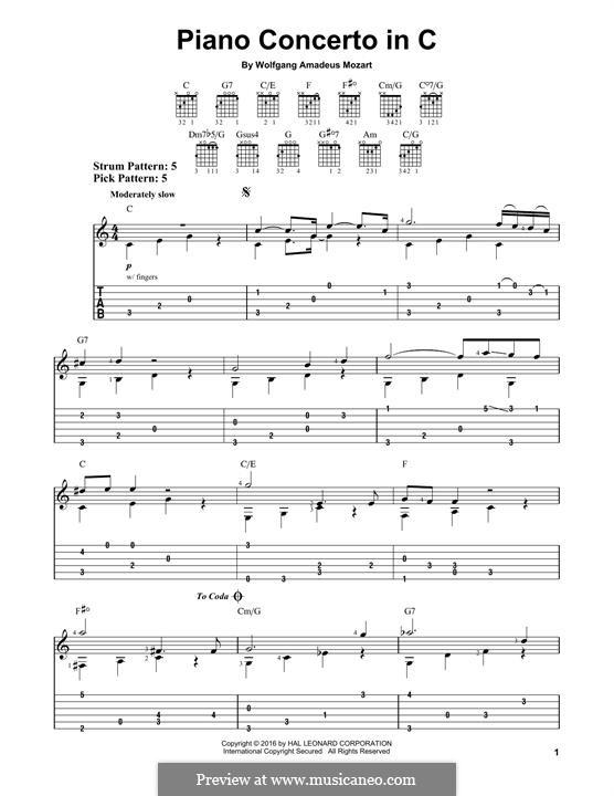 Konzert für Klavier und Orchester Nr.21 in C-Dur, K.467: Movement II (Fragment). Version for guitar by Wolfgang Amadeus Mozart