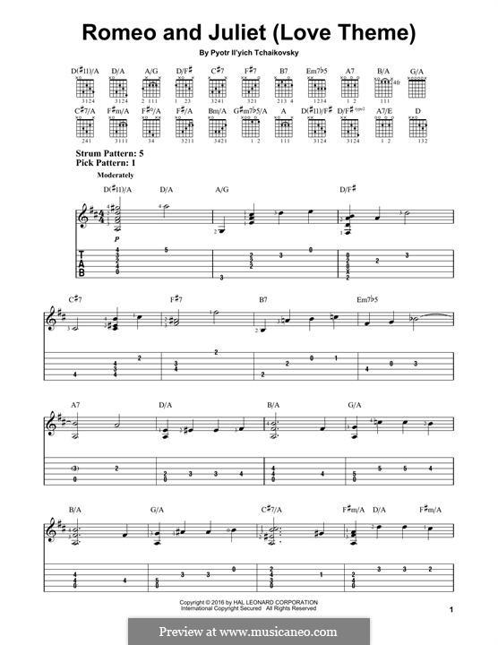 Love Theme: Bearbeitung für Gitarre by Pjotr Tschaikowski
