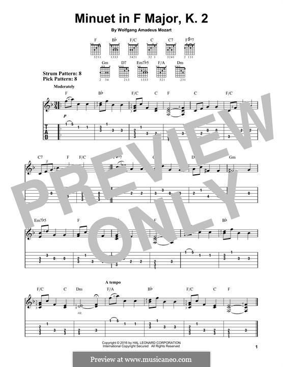 Menuett für Klavier in F-Dur, K.2: Version für Gitarre by Wolfgang Amadeus Mozart