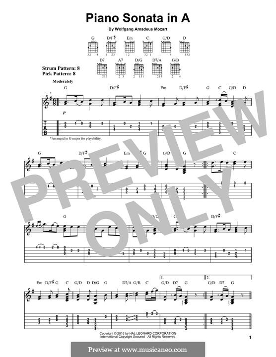 Movement I Andante Grazioso: Theme, for guitar by Wolfgang Amadeus Mozart