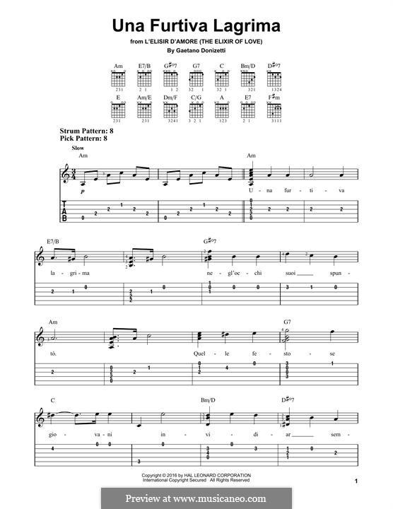 Der Liebestrank: Act II, Romance Nemorino 'Una furtiva lagrima', for guitar by Gaetano Donizetti