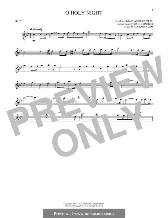 O Holy Night (Printable Scores): Für Flöte by Adolphe Adam