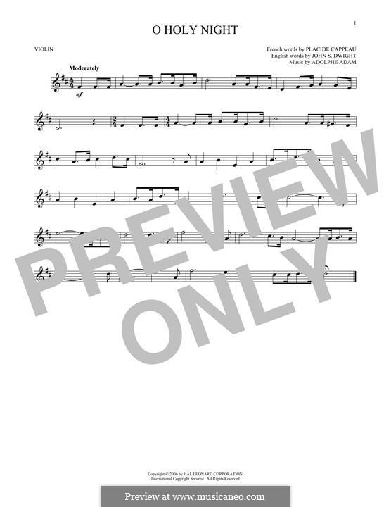O Holy Night (Printable Scores): Für Violine by Adolphe Adam