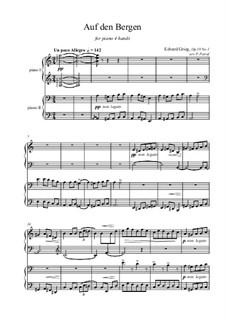 Aus dem Volksleben, Op.19: Nr.1 Auf den Berge, für Klavier vierhändig by Edvard Grieg