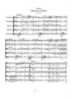 Streichquintett Nr.5 in D-Dur, K.593: Vollpartitur by Wolfgang Amadeus Mozart