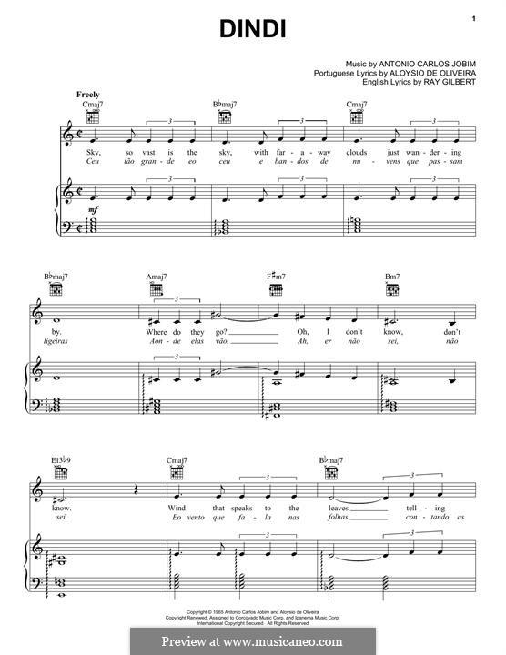 Dindi: Für Stimme und Klavier (oder Gitarre) by Antonio Carlos Jobim