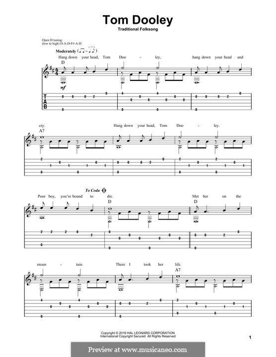 Tom Dooley: Für Gitarre mit Tabulatur by folklore