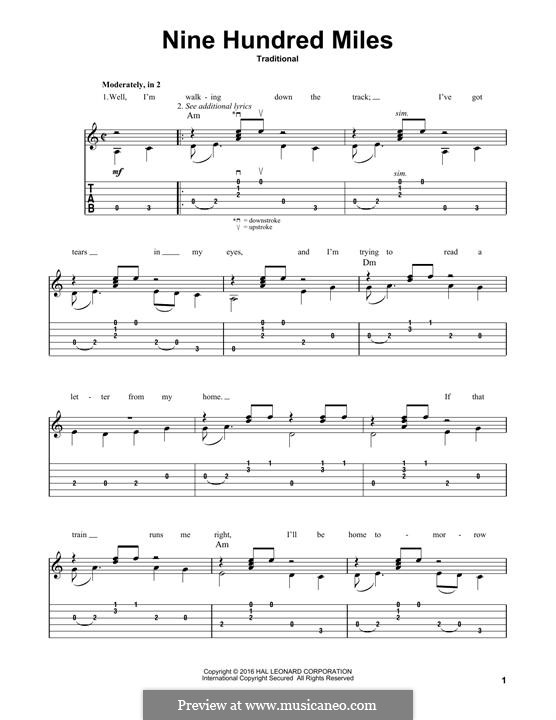 Nine Hundred Miles: Für Gitarre mit Tabulatur by folklore