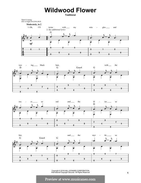 Wildwood Flower: Für Gitarre mit Tabulatur by folklore
