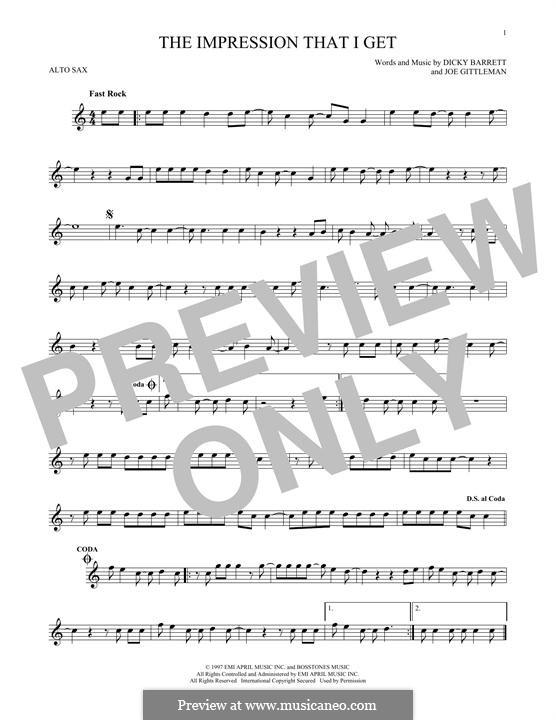 The Impression That I Get (The Mighty Mighty Bosstones): Für Altsaxophon by Dicky Barrett, Joe Gittleman