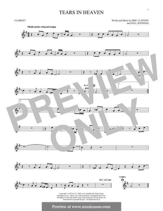 Tears in Heaven: Für Klarinette by Eric Clapton, Will Jennings