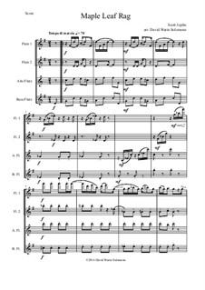 Maple Leaf Rag: For flute quartet (2 flutes, 1 alto and 1 bass) by Scott Joplin