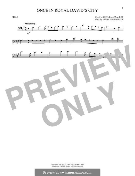Einst in der königlichen Stadt David: Für Cello by Henry John Gauntlett