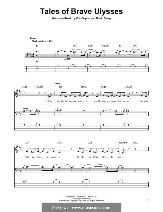 Tales of Brave Ulysses (Cream): Für Bassgitarre mit Tabulatur by Eric Clapton, Martin Sharp