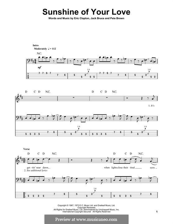 Sunshine of Your Love (Cream): Für Bassgitarre mit Tabulatur by Eric Clapton, Jack Bruce, Pete Brown