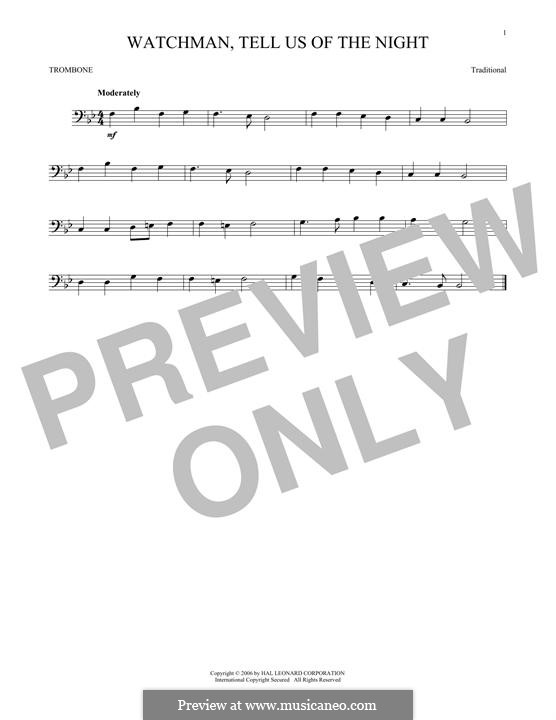 Watchman, Tell Us of the Night: For trombone by folklore