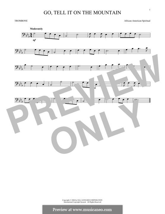 Go, Tell it on the Mountain (Printable Scores): For trombone by folklore
