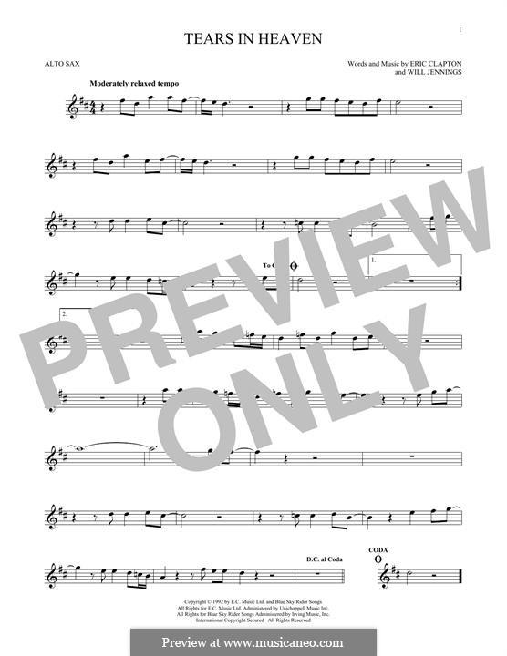 Tears in Heaven: Für Altsaxophon by Eric Clapton, Will Jennings