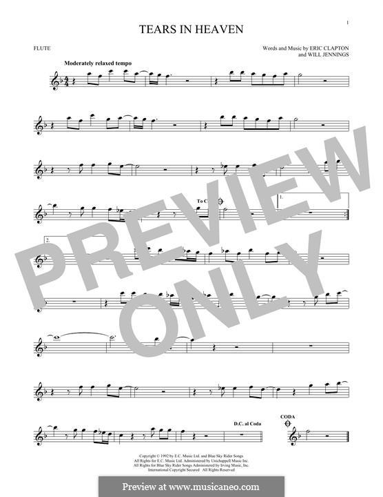 Tears in Heaven: Für Flöte by Eric Clapton, Will Jennings