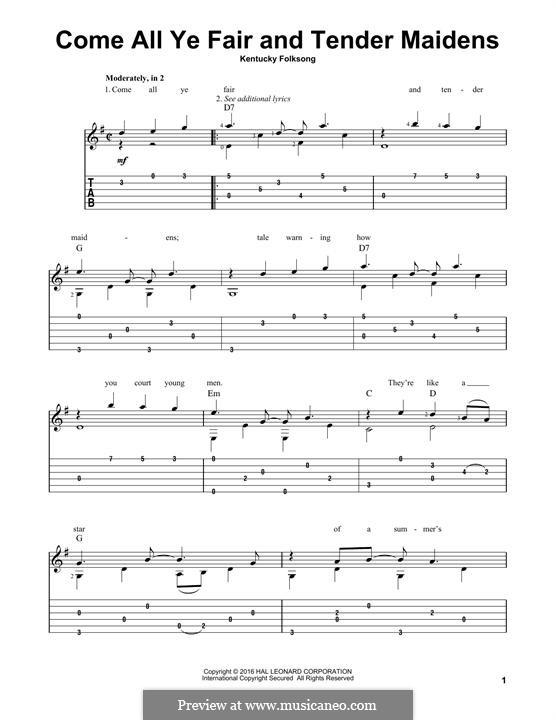 Come All Ye Fair and Tender Maidens: Für Gitarre mit Tabulatur by folklore