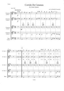 Corrido de Cananea: For guitar quartet by folklore