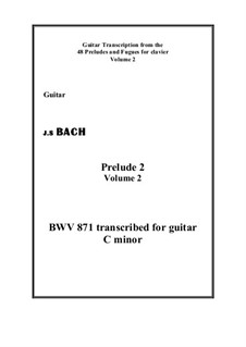 Präludium und Fuge Nr.2 in c-Moll, BWV 871: Prelude, for guitar by Johann Sebastian Bach