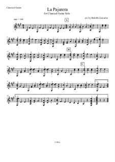 La Pajarera: For solo classical guitar by folklore