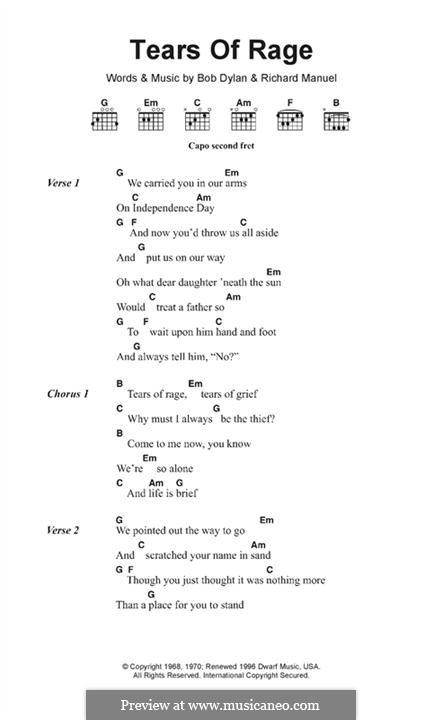 Tears of Rage: Text und Akkorde by Bob Dylan, Richard Manuel