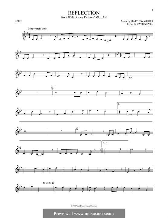Reflection (from Disney's Mulan): For horn by Matthew Wilder