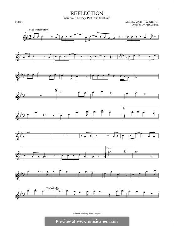 Reflection (from Disney's Mulan): Für Flöte by Matthew Wilder