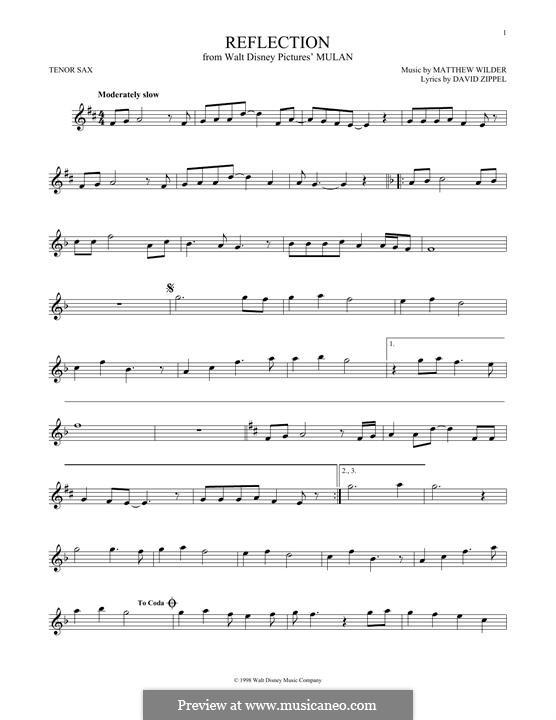 Reflection (from Disney's Mulan): Für Tenorsaxophon by Matthew Wilder