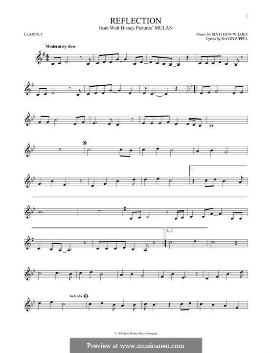 Reflection (from Disney's Mulan): Für Klarinette by Matthew Wilder