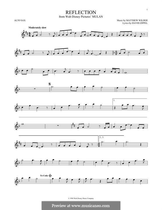 Reflection (from Disney's Mulan): Für Altsaxophon by Matthew Wilder