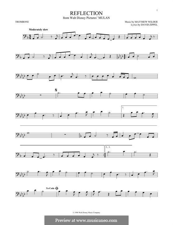 Reflection (from Disney's Mulan): For trombone by Matthew Wilder