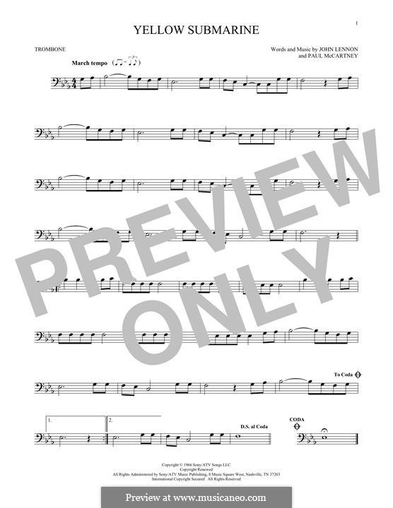 Yellow Submarine (The Beatles): For trombone by John Lennon, Paul McCartney