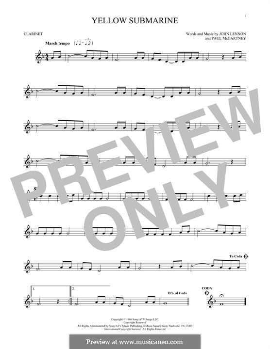 Yellow Submarine (The Beatles): Für Klarinette by John Lennon, Paul McCartney