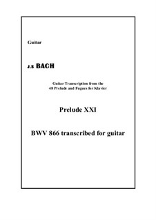 Präludium und Fuge Nr.21 in B-Dur, BWV 866: Prelude, for guitar by Johann Sebastian Bach