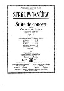 Konzertsuite für Violine und Orchester, Op.28: Bearbeitung für Violine und Klavier by Sergei Taneyev