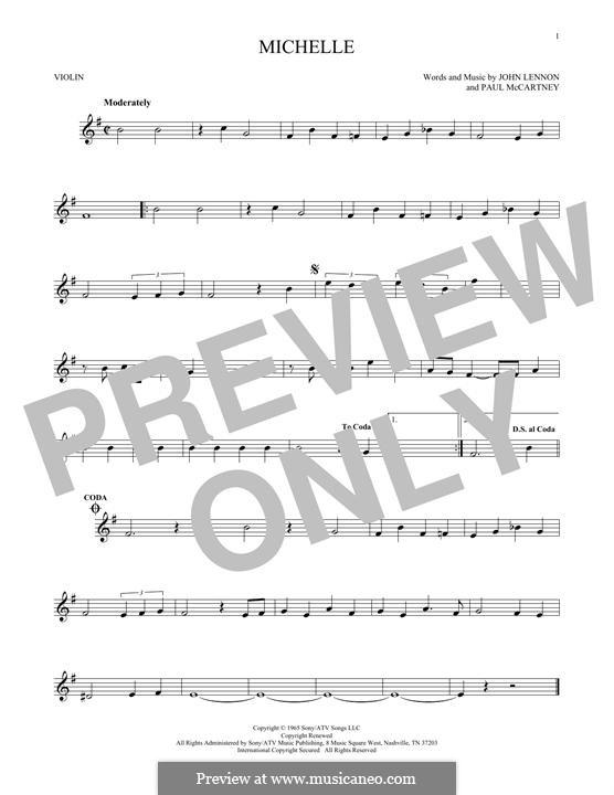 Michelle (The Beatles), for One Instrument: Für Violine by John Lennon, Paul McCartney