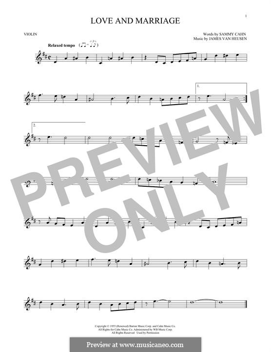 Love and Marriage (Frank Sinatra): Für Violine by Jimmy Van Heusen