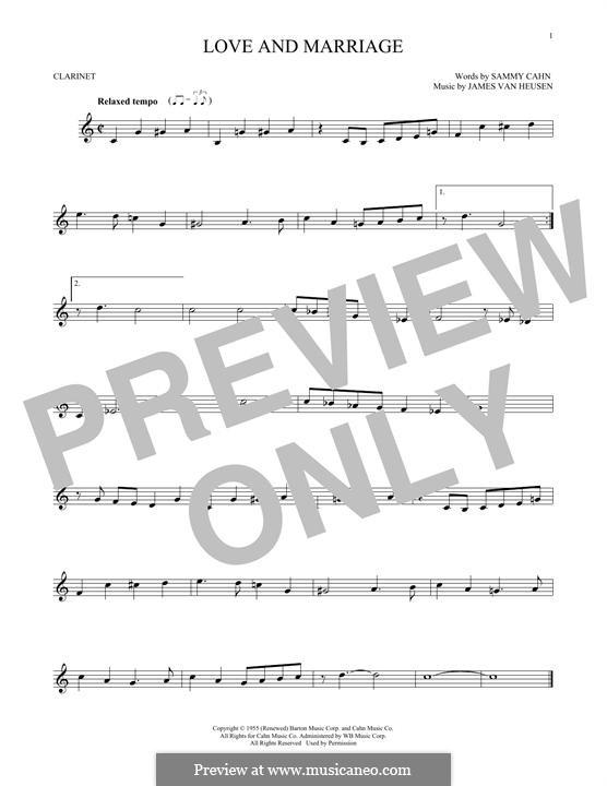 Love and Marriage (Frank Sinatra): Für Klarinette by Jimmy Van Heusen
