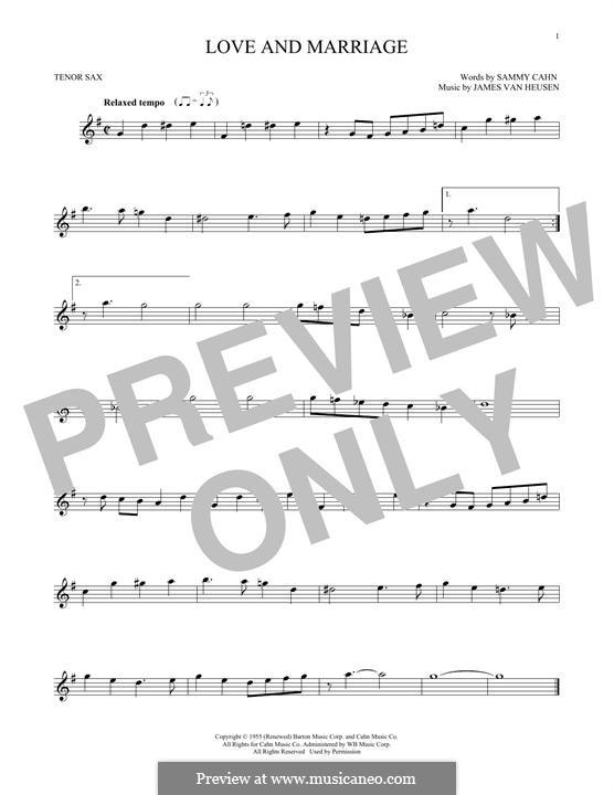 Love and Marriage (Frank Sinatra): Für Tenorsaxophon by Jimmy Van Heusen