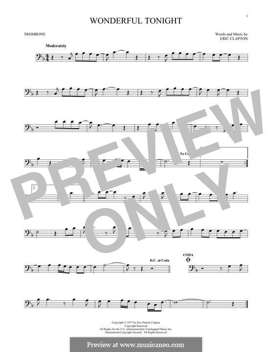Wonderful Tonight: For trombone by Eric Clapton