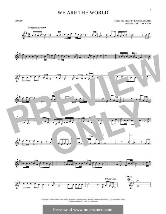 We Are the World (USA for Africa): Für Violine by Lionel Richie, Michael Jackson