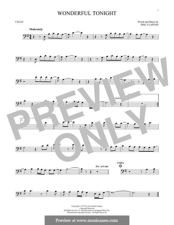 Wonderful Tonight: Für Cello by Eric Clapton