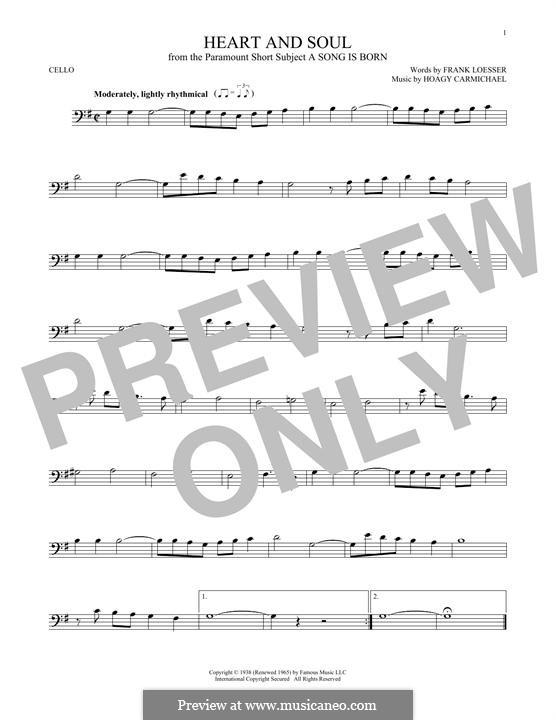 Heart and Soul: Für Cello by Hoagy Carmichael