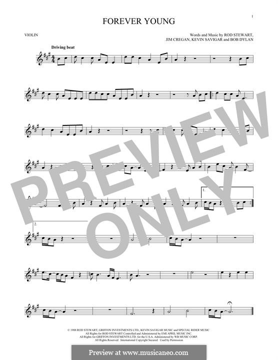 Forever Young II: Für Violine by Bob Dylan, Jim Cregan, Kevin Savigar, Rod Stewart
